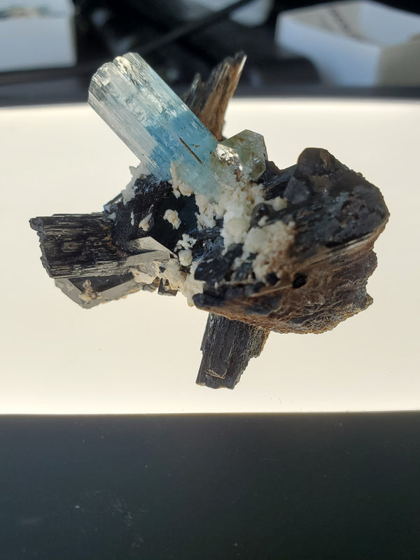 40g Erongo Aquamarine Matrix with Black Tourmaline Cluster and Natural Quartz, From Erongo Region, Namibia