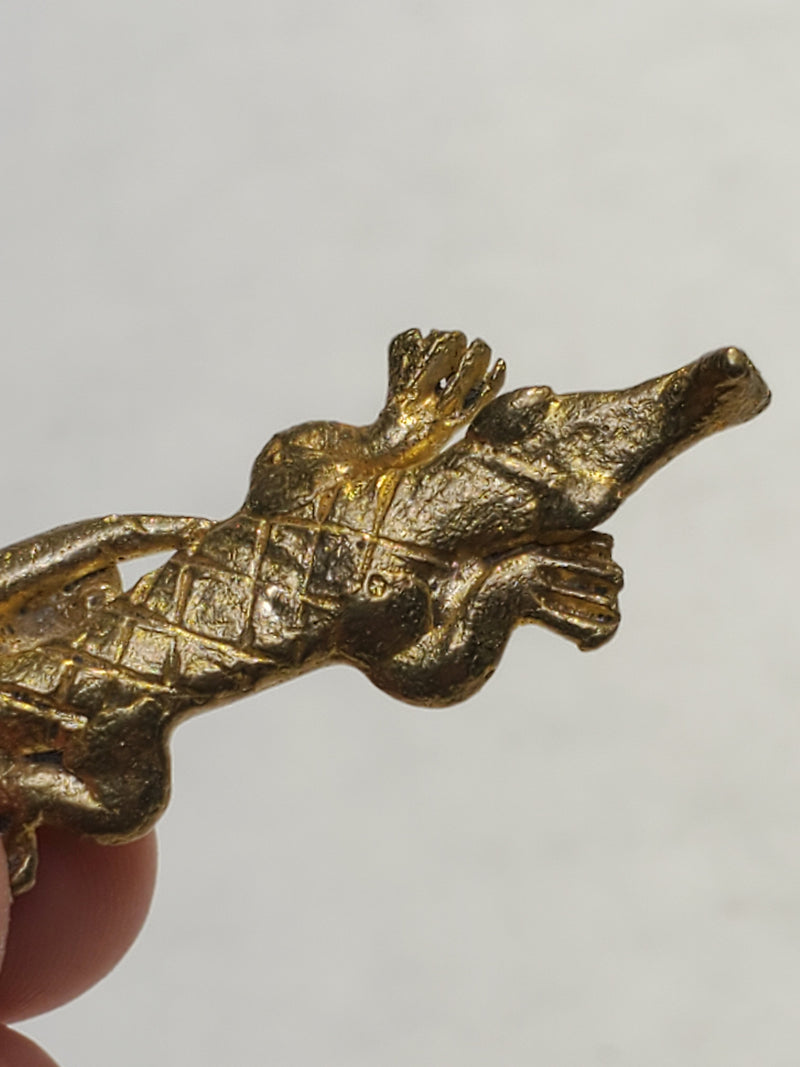 Set of 5 Bronze Pendants: A Crab, a Gecko, an Alligator, A Lizard and a Frog, from the Baule Tribe of Ivory Coast
