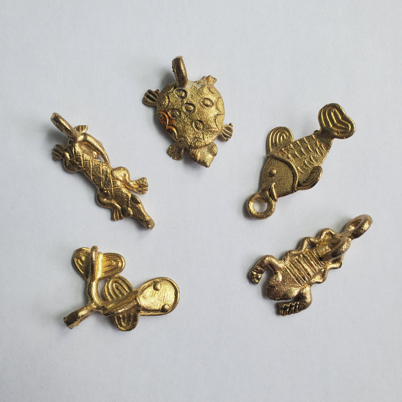 Five Baule Bronze Pendants, Two fish, Crocodile, Scorption and Turtle, Lost Wax from Ivory Coast