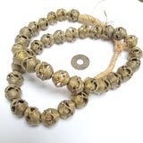 37 Brass Filigree Globe Beads 15 mm, African Brass Beads, African Jewelry and Jewelry Making Supplies,  Made in Ghana