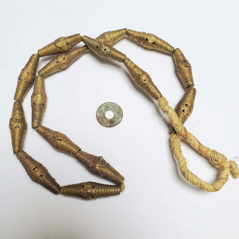 15 Brass Filigree Globe Beads 40 x 10 mm, African Brass Beads, African Jewelry and Jewelry Making Supplies,  Made in Ghana