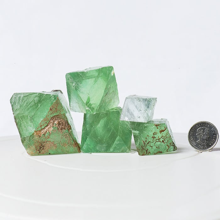 Green Fluorite Octahedrons, Riemvasmaak, Northern Cape, South Africa, Set of 5