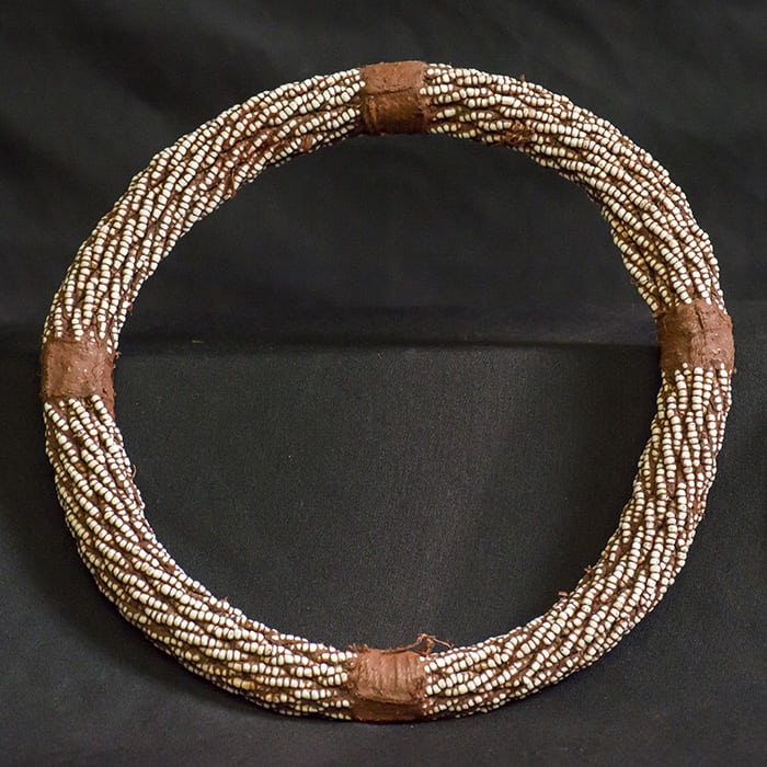 Ombuena Young Himba Woman's Neckring - Seed beads and Ochre