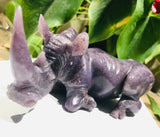 """Lounging Rhinoceros"" Shona Sculpture in Lepidolite, from the Chitungwiza Art Centre, Zimbabwe"