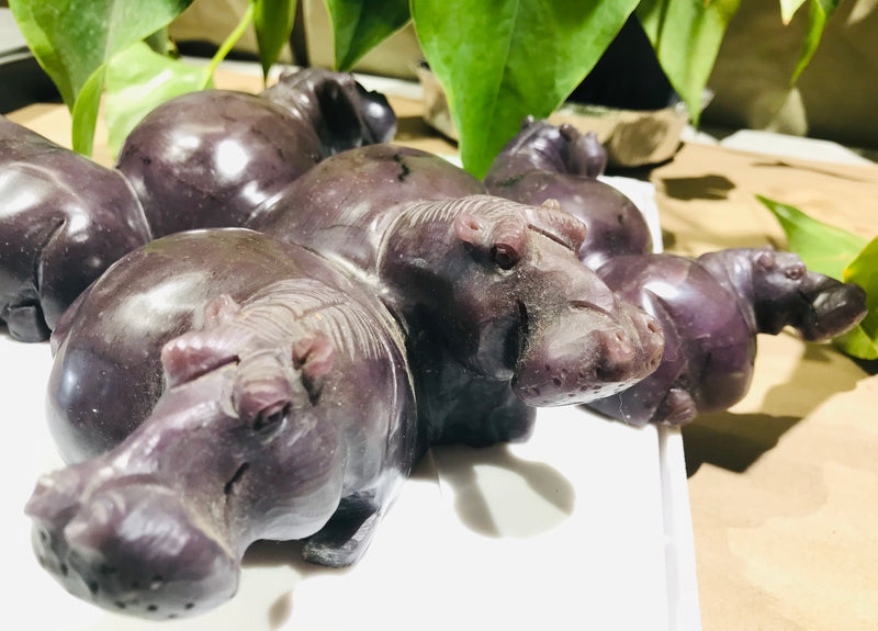 """Hippo Family"" Extra Large Shona Sculpture in Lepidolite, from the Chitungwiza Art Centre, Zimbabwe"