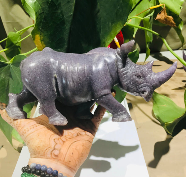"""Rhinoceros Figure"" Shona Sculpture in Lepidolite, from the Chitungwiza Art Centre, Zimbabwe"