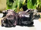 """Hippo Family"" with Baby, Shona Sculpture in Lepidolite, from the Chitungwiza Art Centre, Zimbabwe"