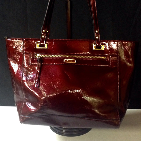 Nine West Cranberry Patent Large Purse Carry All