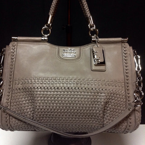 NEW Without Tags  RARE Boutique Coach Gray Woven Leather Tote Bag Purse Shoulder Bag(Comes w/Duster)