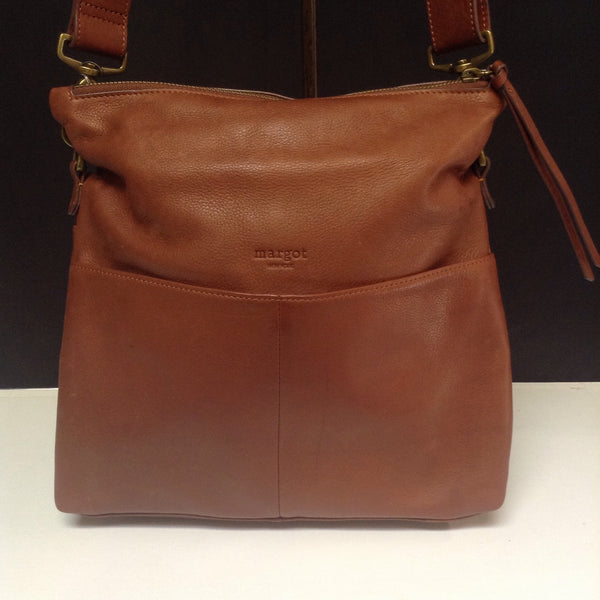 Margot New York Brown Leather Mickey Hobo Crossbody (MSRP$200.00)