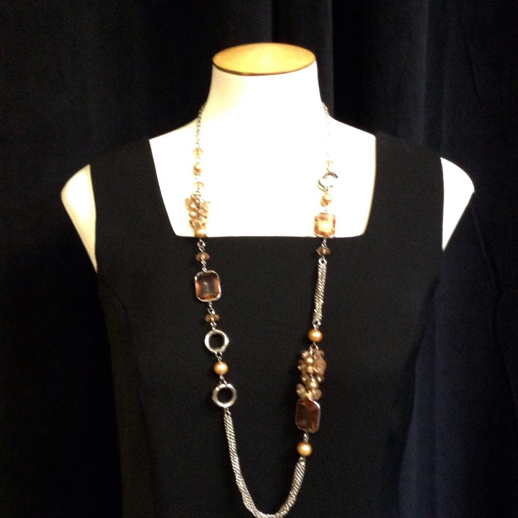 Rose Amber Colored Long Necklace w/ Gold Type Accents