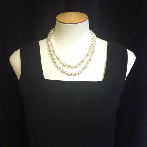 Faux Pearl Necklace Wearable Long or Doubled