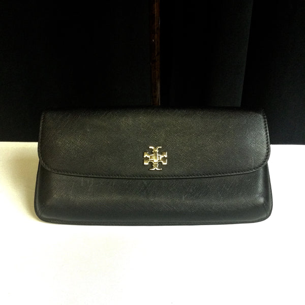 Tory Burch Diana Black Saffiano Leather Clutch w/ Gold Logo Front (E-bay Selling for $110)