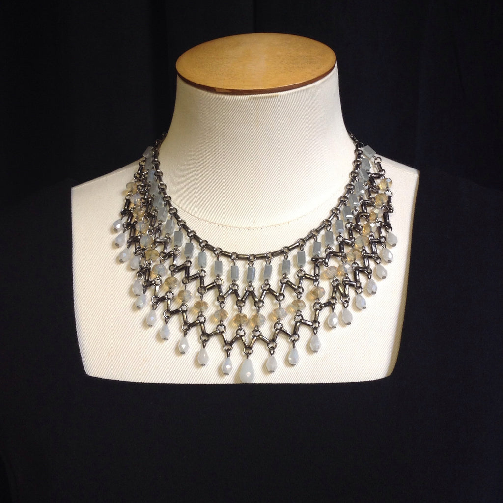 Mixed Materials Statement Necklace (Adjustable)
