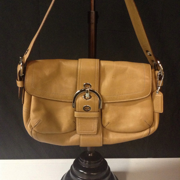Coach Camel Leather Shoulder Bag w/Hobo Buckle