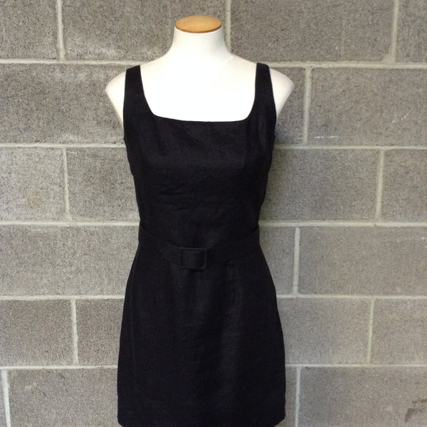 Allen Schwartz, Size 14 Black Dress w/beaded neck detail and tiered hem.