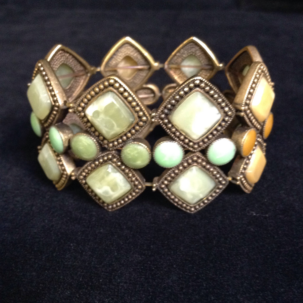 Vintage Style Bronze Tone Mulit-Color Stretch Bracelet