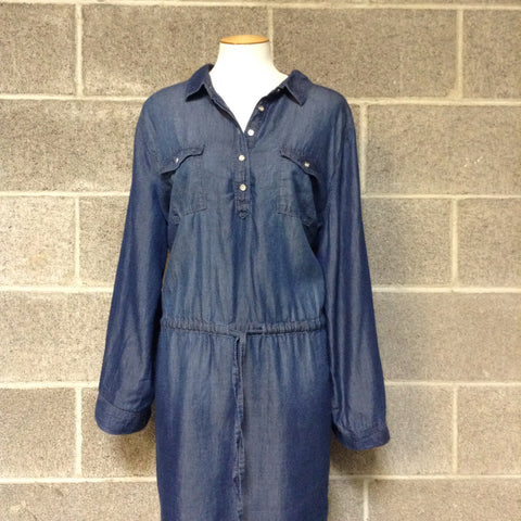 Gloria Vanderbuilt Size XL Denim Dress w/ Roll up half length Sleeves