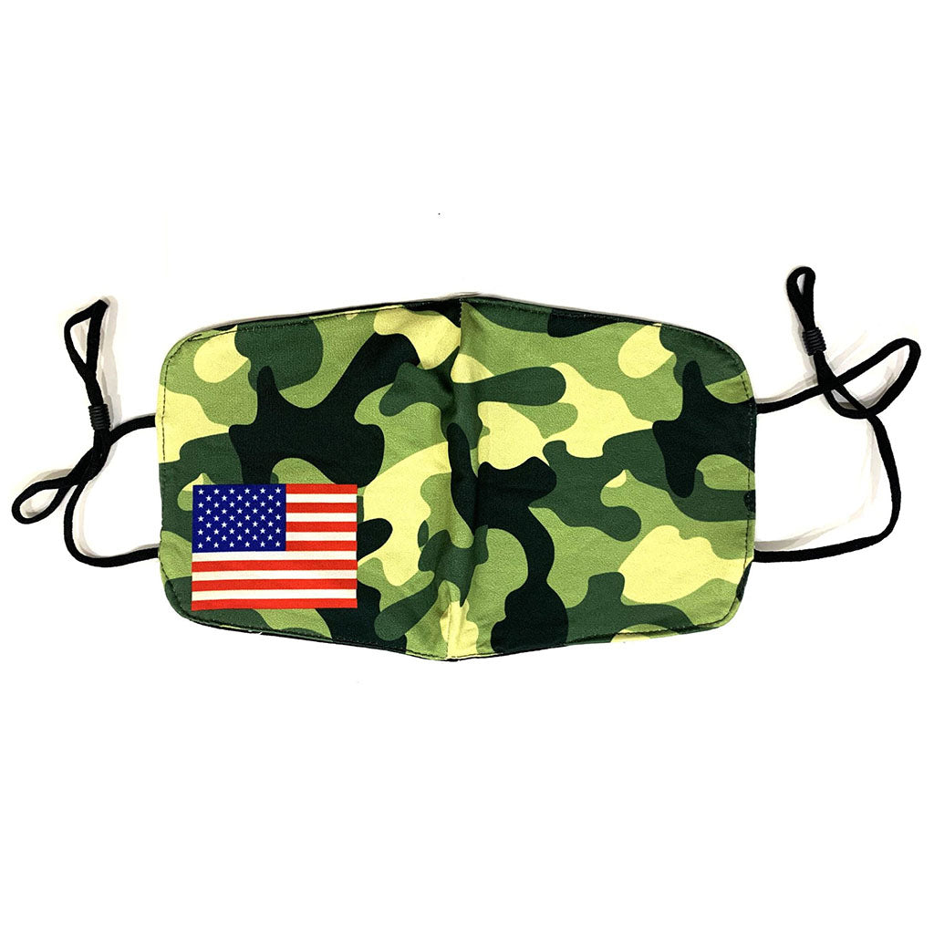 Washable Cloth Mask (USA Flag + Camouflage)