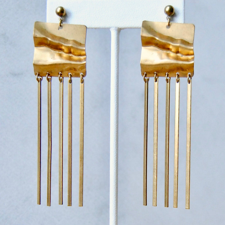 SQUARE FRINGE EARRINGS