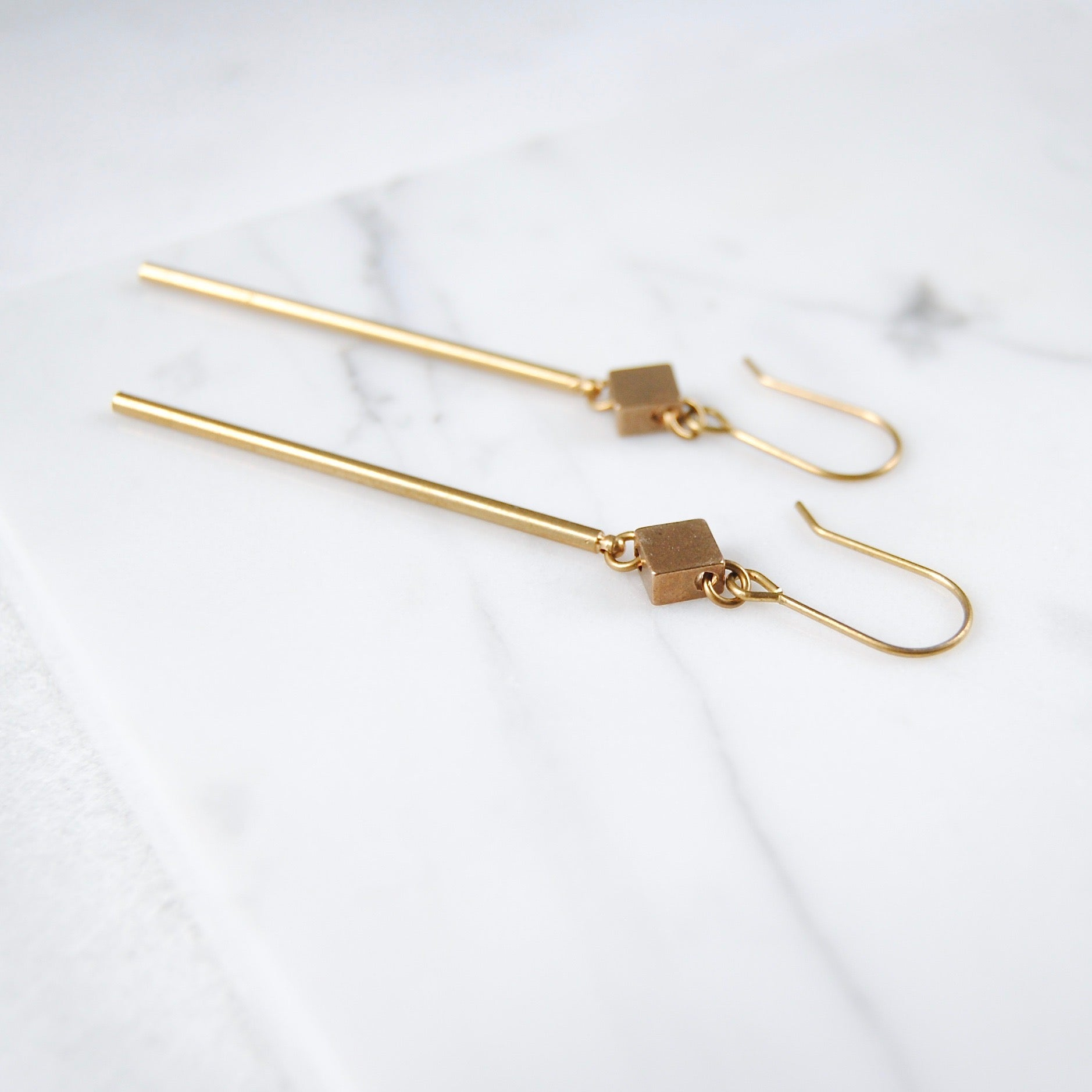 SQUARE AND STICK EARRINGS