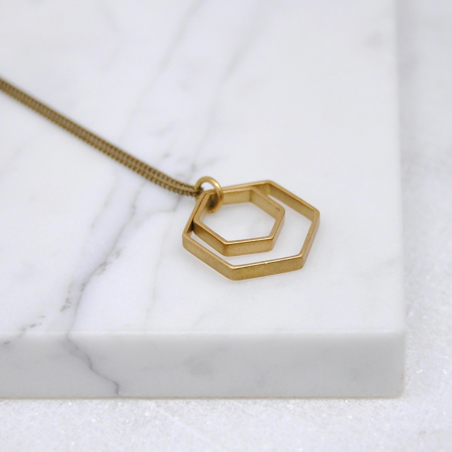 PAIRED HEXAGONS NECKLACE