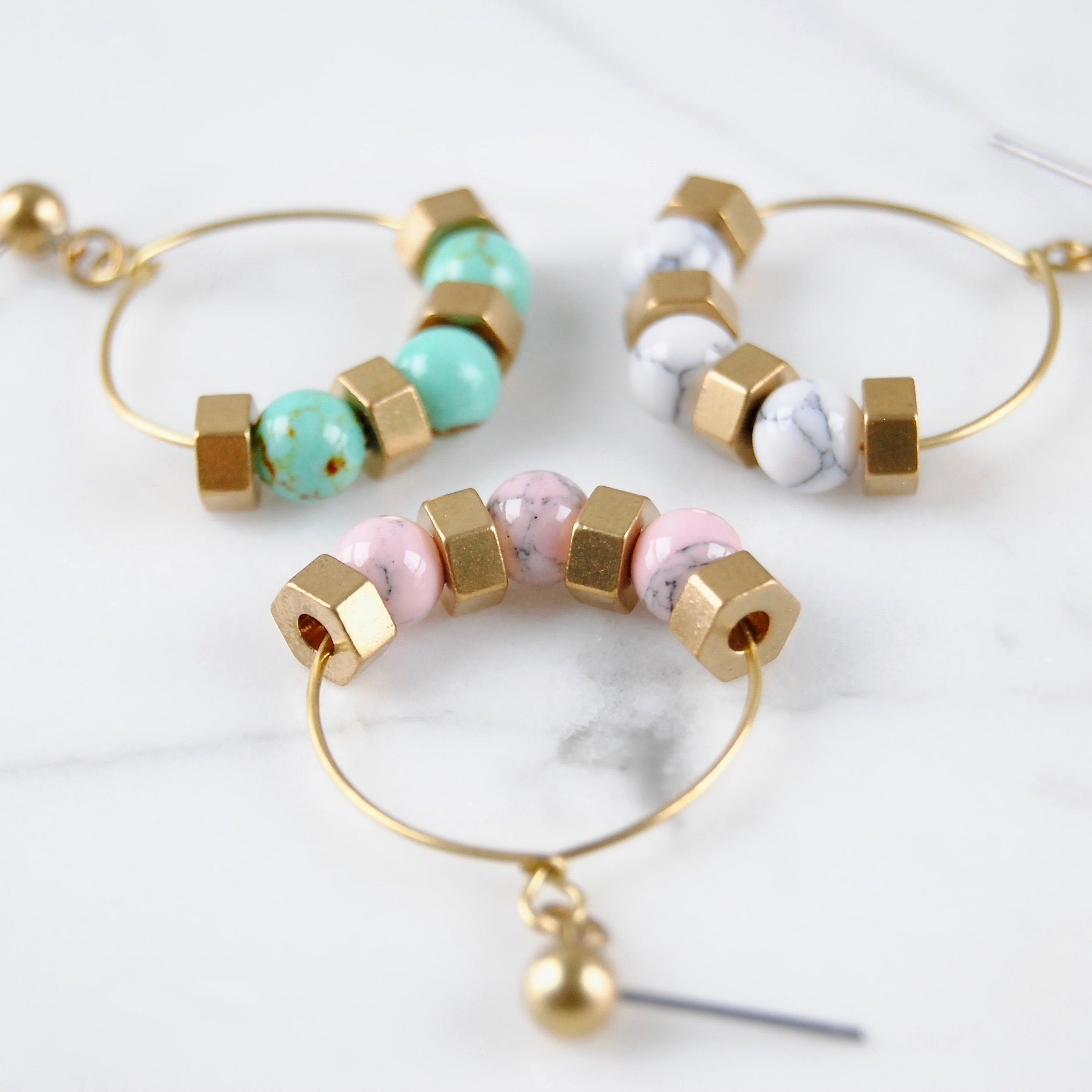 BEADED HEX HOOPS
