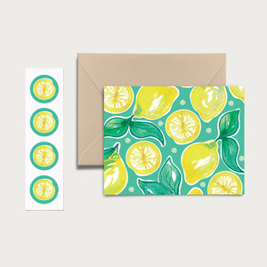 Lemony Lemons! Set of 8 Notecards, Kraft Envelopes and Stickers