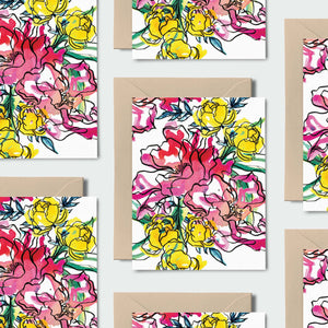 Wildflower Bouquet! Set of 8 Notecards, Kraft Envelopes and Stickers