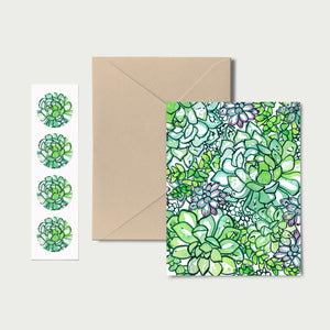 The Succulent Patch! Set of 8 Notecards, Kraft Envelopes and Stickers