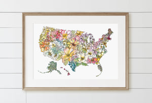 United States of America: USA Floral Map featuring all 50 State Flowers