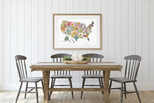 Load image into Gallery viewer, United States of America: USA Floral Map featuring all 50 State Flowers