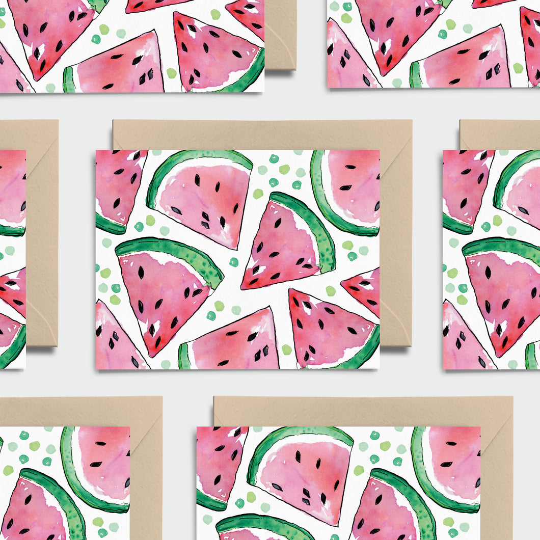 Wonderful Watermelons! Set of 8 Notecards, Kraft Envelopes and Stickers