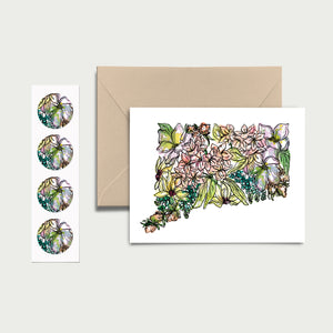 CONNECTICUT WILD: Set of 8 Notecards + Kraft Envelopes + Stickers