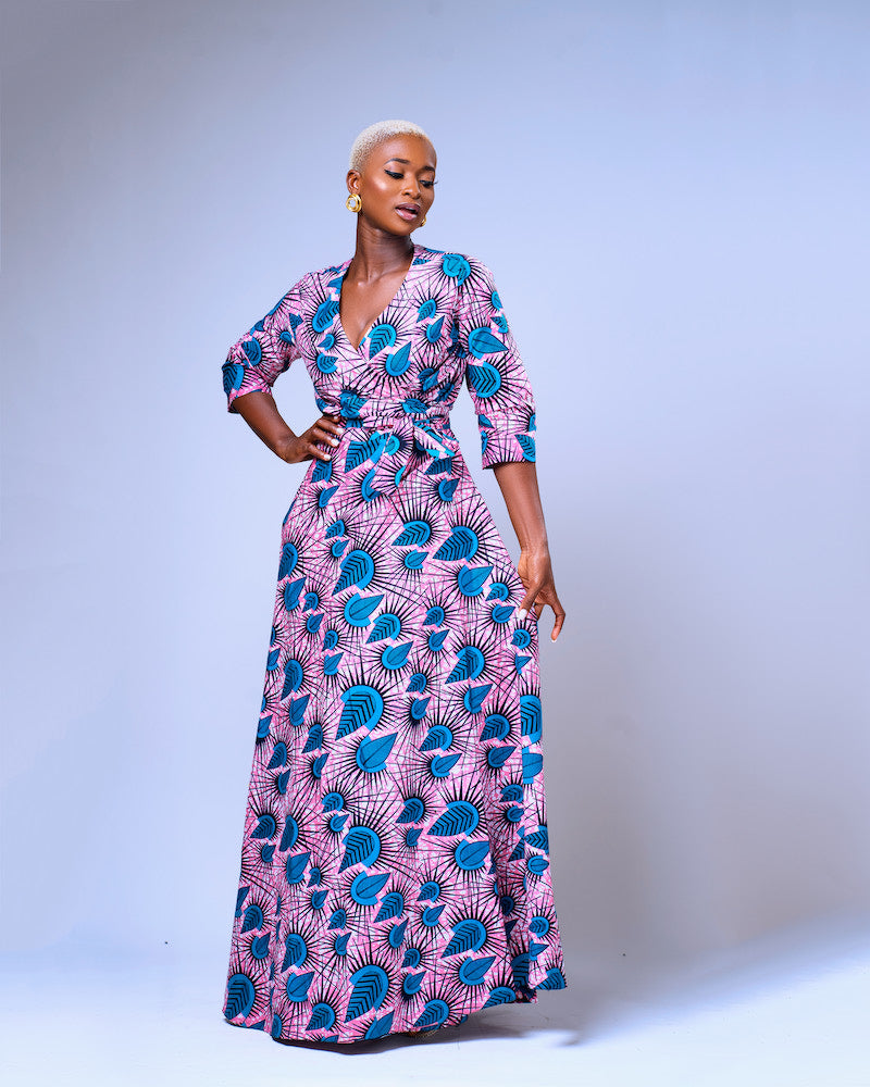 AFRICAN PRINT AKUDO MAXI WRAP DRESS