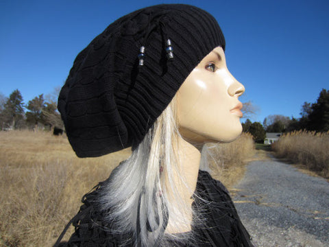 3721301af7a2a8 Black Oversized Beanie Slouch Tam Cable Knit Women's Hat Black Leather Tie  A1228