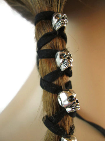 Leather Hair Ties Ponytail Holders Beaded Wraps SKULL Bohemian Clothing Jewelry