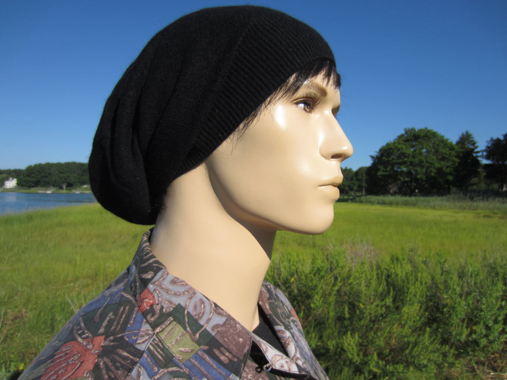 ae7efac2 Pure Cashmere Slouchy Hat For Men's - Black – VACATIONHOUSE