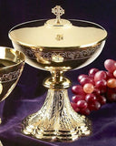 Grapes & Wheat Engraved Ciborium with Celtic Cross Cover