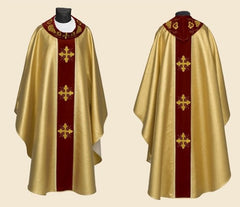 Gold Brocade Chasuble With Collar Gold Crosses