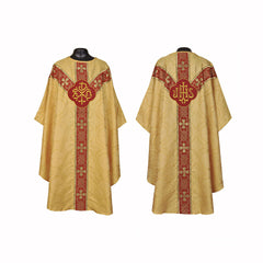 Clergy Embroidered Chasuble Metallic  Gold Gothic Vestment & Mass Set  5pc