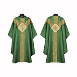 Clergy Embroidered Chasuble GREEN Gold Gothic Vestment & Mass Set  5pcs