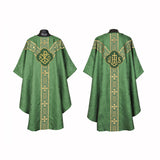 Clergy Embroidered Chasuble Kelly GREEN Gold Gothic Vestment & Mass Set  5pcs