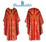 Clergy Embroidered Chasuble Metallic RED Gold Gothic Vestment & Mass Set  5pc
