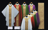 All Seasons Vestment Set Italian Brocade Belt Coronation Design Chasuble