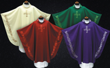 All Seasons Vestment Set with decorated with Embroidered Cross Chasuble