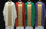 Vestment Set Wool Decorated with Satin Cross Desing Chasuble
