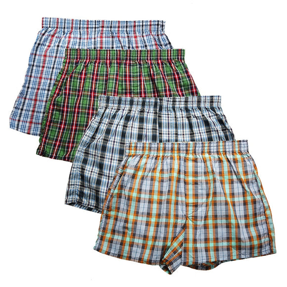 High Quality Brand 4-Pack Men's Boxer Shorts Woven Cotton 100% Classic Plaid Combed Male Underpant Loose Breathable Oversize