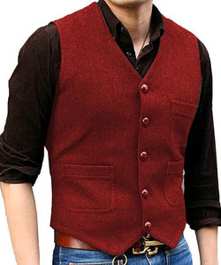 Men's Suit Formal V Neck Wool Herringbone Tweed Casual Waistcoat Formal Business Vest Groomman For Wedding Green/Black/Brown