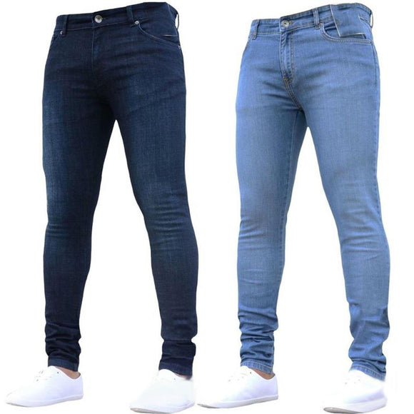 Hot Mens Skinny Jeans 2019 Super Skinny Jeans Men Non Ripped Stretch Denim Pants Elastic Waist Big Size European  Long Trousers